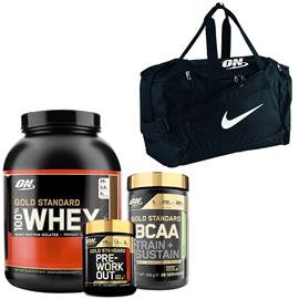 100% Whey Gold Std, 2273 g + Gold Std PWO + Gold Std BCAA + Nike Bag