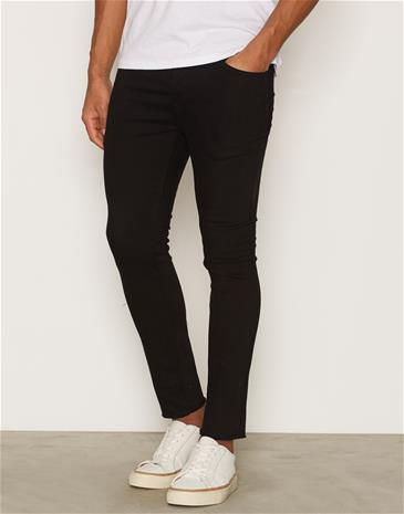 Topman Black Raw Edge Hem Cropped Skinny Chinos Farkut Black