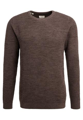 Selected Homme SHNNEWVINCE BUBBLE CREW NECK Neule chocolate chip/twisted with mulch