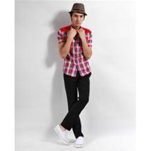 Fashion Grid Split Joint Front Button Short Sleeve Men Casual Shirts - L, Musta