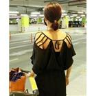 Sexy Cut Out Elastic Batwing Sleeve Cotton Blends Women Jumpsuits