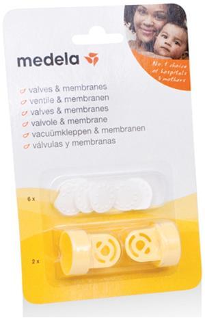 Medela, venttiilit 2 kpl + kalvot 6 kpl