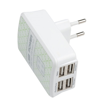 DELTACO seinälaturi, 230V 5V USB, 4,8A, 4xUSB, valkoinen