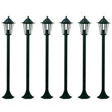 vidaXL 6 Puutarhan Tumman Vihreää Valotolppaa 110 cm