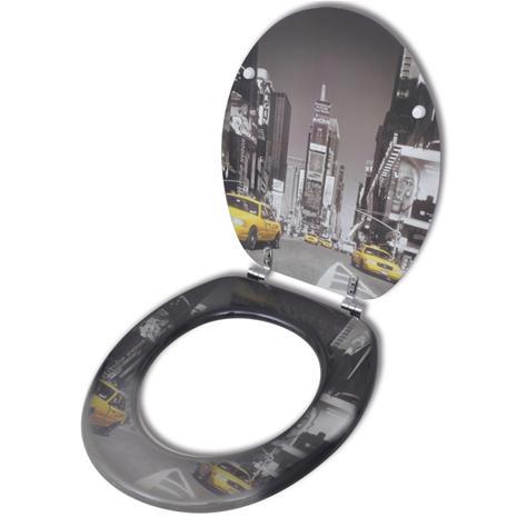 vidaXL WC Istuimen Kansi MDF New York Kuviointi