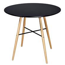 vidaXL Matta Musta Pyöreä Ruokapöytä