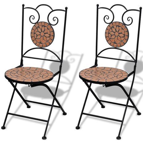vidaXL Mosaiikki Bistrotuoli Terracotta 2 kpl