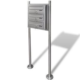 vidaXL, kolmois postilaatikko telineellä ruostumaton teräs