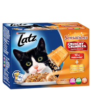 Latz Sensations Crunchy Crumbles 10x100 g kissan märkäruoka
