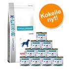 Yhteispakkaus: Royal Canin Veterinary Diet - Hypoallergenic DR 21 (14 kg) + märkäruoka 12 x 200 g