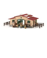 Schleich Farm World 42195, talli jossa hevosia ja tarvikkeita