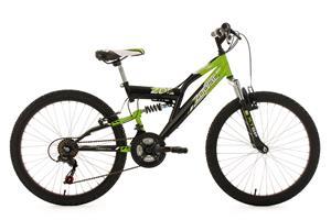 "Kid's Full Suspension Mountain Bike 24"" Zodiac Green-Black 18 Gear KS Cycling"