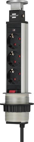 Brennenstuhl Tower Power (1396200013), pöydästä nouseva pistokerasia 3 maadoitettua pistoketta + 2 x USB
