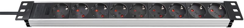 Brennenstuhl Alu-Line (1390007009), virtapaneeli 9 maadoitettua pistoketta