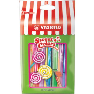 STABILO Kuitukynät Pen 68 Mini Sweet Colors, 15 kpl