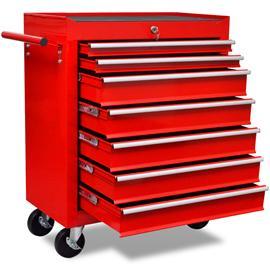 vidaXL 141955, punainen työkalukärry 7:llä laatikolla