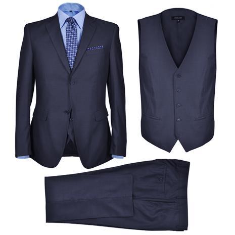 vidaXL, kolmeosainen miesten puku koko 50 laivaston sininen