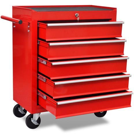 vidaXL 141954, punainen työkalukärry 5:llä laatikolla