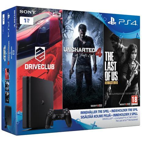 PlayStation 4 Slim (PS4, 1 TB) + 3 peliä, pelikonsoli