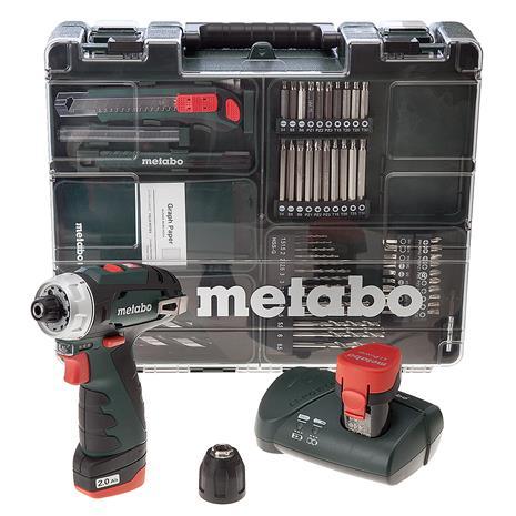 Metabo PowerMaxx BS (600080880) 10,8V 2x2,0Ah, akkupora/-ruuvinväännin + 63-os. tarvikesarja