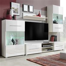 vidaXL Hvidt reolsystem, højglans, TV-skab, med LED-lys