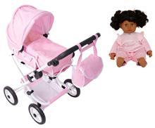 Stoy Dolls, Nukenvaunut + Nukke 40 cm, Vaaleanpunainen, Paketti