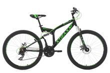 "Full Suspension Mountain Bike 26"" Xtraxx Black-Green 21 Gear KS Cycling"