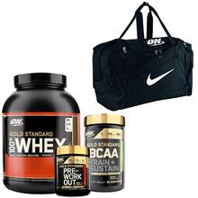 100% Whey Gold Std, 2273 g + Gold Std PWO + Gold Std BCAA + Nike Bag