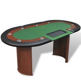 vidaXL 10-Pelaajan Pokeripöytä Jakajan Alue ja Pelimerkkitarjottimella Vihr