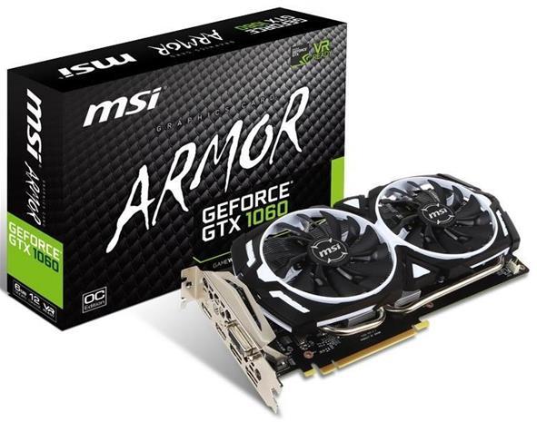 MSI GeForce GTX 1060 Armor OC V1 6 GB, PCI-E, näytönohjain