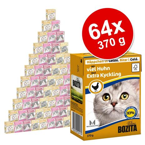 Bozita Chunks -säästöpakkaus: monta makua, 64 x 370 g - lajitelma: kani + naudanliha (Gravy)