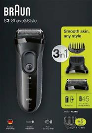 Braun Series 3 Shave & Style 3000BT, parranajokone/partatrimmeri