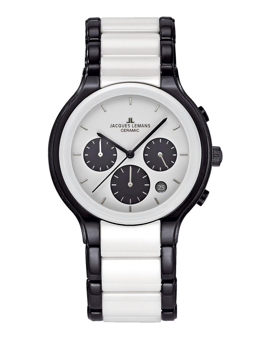 Miesten kronografi Jacques Lemans valkoinen musta37359 50X f285aba005