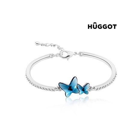 Huggot Flying Rhodiumpläterat armband med zirkonier och Swarovski kristaller O 6 cm
