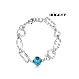 Huggot Link Rhodiumpläterat armband med zirkonier och Swarovski kristaller 18 cm