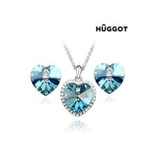 Huggot Cinderella Rhodiumpläterat set: Hänge och örhängen med zirkonier 45 cm och Swarovski kristaller 45 cm