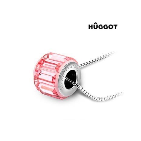 Huggot Pink Wheel Rhodiumpläterat hänge med Swarovski kristaller 45 cm