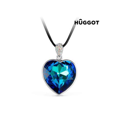 Huggot Oceans Heart Guldpläterat hänge med zirkonier och lädeband samt Swarovski kristaller 53 cm