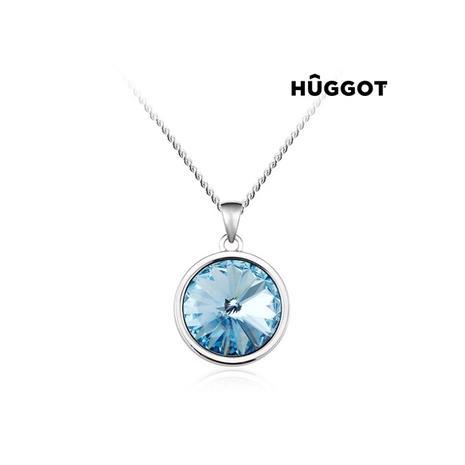 Huggot Blue Diamond Rhodiumpläterat hänge med zirkonier och Swarovski kristaller 45 cm