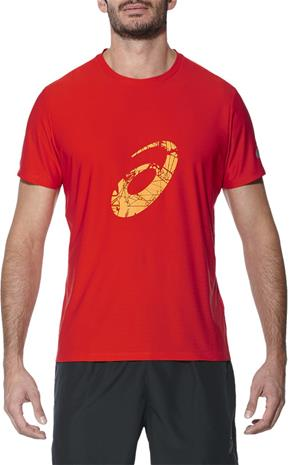 asics Graphic juoksupaita , punainen, Miesten takit, paidat ja muut yläosat