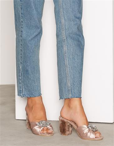 NLY Shoes Satin Mule High Heel Vaaleanpunainen
