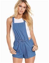 New Look Blue Denim Tie Waist Playsuit Playsuits Mid Blue