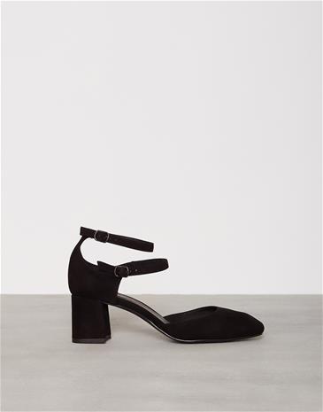 Henry Kole Mia Suede Leather Low Heel Musta