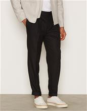 Topman Black Twin Pleat Tapered Smart Trousers Housut Black