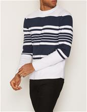Topman White and Navy Stripe Jumper Puserot White