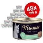 Miamor Fine Filets -säästöpakkaus 48 x 100 g - vaalea tonnikala & riisi