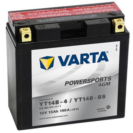 Varta AGM Batteri 12 V 13 Ah YT14B-4 / YT14B-BS