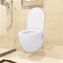vidaXL Seinäkiinnitettävä WC Vesisäiliöllä Keraaminen Valkoinen