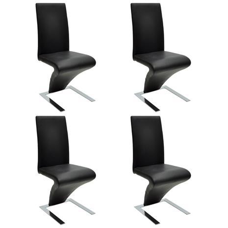 vidaXL Ruokapöydän tuoli 4 kpl Keinonahka Musta Rauta ZigZag Muotoilu