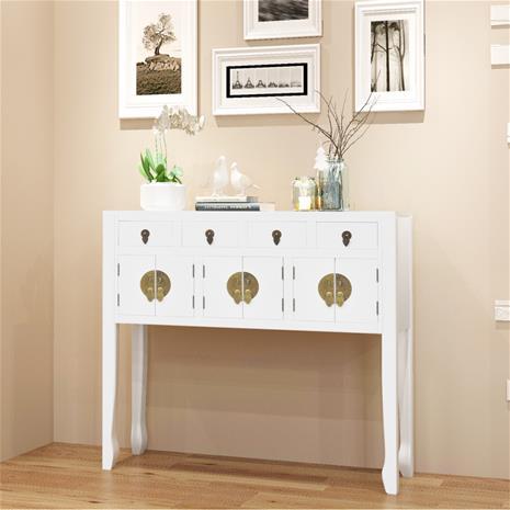 vidaXL Sivupöytä Kiinalaistyylinen Valkoinen Puu